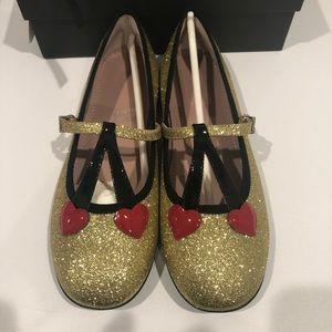 Gucci Gold Shimmer Ballet Flats w/ Cherry Heart 33